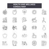 Zdrowie i wellness konsultant wykłada ikony, znaki, wektoru set, liniowy pojęcie, kontur ilustracja ilustracja wektor