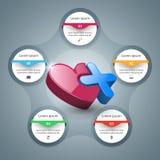 Zdrowie ikona 3D Medyczny infographic Obrazy Stock