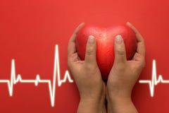 Zdrowie, medycyna, ludzie i kardiologii pojęcie, - zamyka up ręka z małym czerwonym sercem i kardiogram na czerwonym tle Obrazy Royalty Free