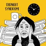zdrowie mentalne Burnout syndrom Zaburzenia psychiczne Wektorowy illustr royalty ilustracja