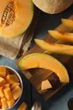 Zdrowie Organicznie Pomarańczowy kantalup fotografia stock