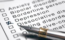 Zdrowie Psychiczne nieładu lista, depresji diagnoza obraz stock