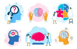 Zdrowie psychiczne terapia Emocjonalny stan, mentalności opieka zdrowotna i medycznego terapii zapobiegania umysłowy problemowy royalty ilustracja