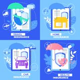 Zdrowie samochodu domu podróży opieki zdrowotnej Asekuracyjny sztandar royalty ilustracja