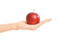 Zdrowy łasowania i diety temat: ludzka ręka trzyma czerwonego jabłka odizolowywający na białym tle w studiu Zdjęcie Royalty Free