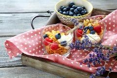 Zdrowy śniadanie dla dwa Owsa płatek, jagody i kwiaty, Fotografia Royalty Free