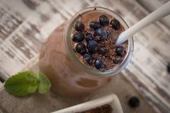 Zdrowy śniadanie lub ranek przekąska z chia siamy czekoladowego pud Obrazy Royalty Free