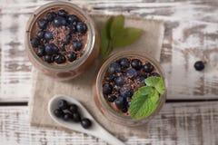 Zdrowy śniadanie lub ranek przekąska z chia siamy czekoladowego pud Zdjęcia Stock