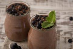 Zdrowy śniadanie lub ranek przekąska z chia siamy czekoladowego pud Zdjęcie Stock