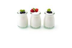 Zdrowy śniadanie z jogurtem i jagodą dieting, świeżość, minuta zdjęcie stock