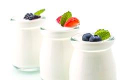 Zdrowy śniadanie z jogurtem i jagodą dieting, świeżość, minuta obrazy royalty free