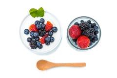 Zdrowy śniadanie z jogurtem i jagodą dieting, świeżość, minuta obraz stock