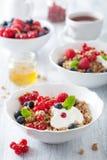 Zdrowy śniadanie z jogurtem i granola obrazy stock
