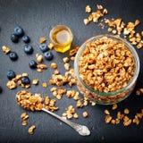 Zdrowy śniadaniowy Świeży granola, muesli z jagodami, miód fotografia stock