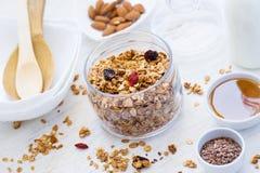 Zdrowy śniadaniowy Świeży granola z wysuszonymi jagodami i dokrętkami dalej Zdjęcia Stock