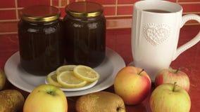 Zdrowy śniadaniowy miód i owoc Zdrowy jedzenie, dieta, Detox, Czysty łasowanie zdjęcie wideo