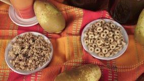 Zdrowy śniadaniowy miód i owoc, owsów płatki Zdrowy jedzenie, dieta, Detox, Czysty łasowanie zbiory