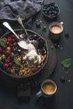 Zdrowy śniadaniowy owsa granola rozdrobni z świeżymi jagodami, ziarnami i lody w żelaznej rynienki niecce na ciemnej drewnianej d Zdjęcia Royalty Free
