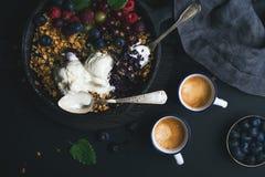 Zdrowy śniadaniowy owsa granola rozdrobni z świeżymi jagodami, ziarnami i lody w żelaznej rynienki niecce na ciemnej drewnianej d Obrazy Stock
