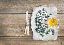 Zdrowy śniadaniowy ustawiający z ricotta, świeżymi czarnymi jagodami, miód i Zdjęcia Stock