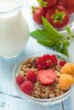 Zdrowy Śniadaniowych zboży muesli z owoc, jagod truskawkami, malinkami i czerwonymi rodzynkami z nabiałami, selekcyjny Fotografia Royalty Free