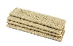 Zdrowy crispbread odizolowywający na białym tle Crispy żywienioniowy sprawność fizyczna chleb obraz stock