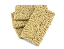 Zdrowy crispbread odizolowywający na białym tle Crispy żywienioniowy sprawność fizyczna chleb fotografia royalty free