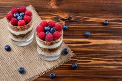 Zdrowy czarnej jagody i malinki parfait w szkle na wieśniaku w obrazy stock
