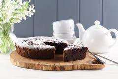 Zdrowy deser Tradycyjny Syberyjski tort z ptasiej wiśni flou zdjęcia royalty free