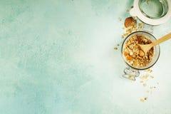 Zdrowy domowej roboty granola z dokrętkami i wysuszonymi owoc użyczający obraz royalty free