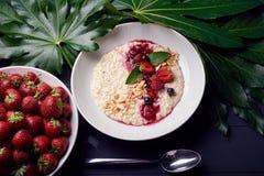 Zdrowy Domowej roboty Oatmeal z jagodami dla śniadania fotografia stock