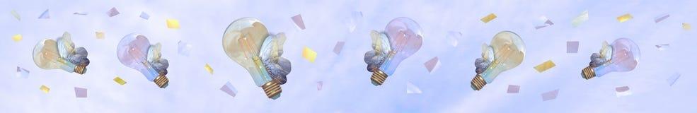 Zdrowy evironment lub brainstorming Latający lightbulbs na niebie lubią butterflyes zdjęcie royalty free