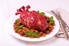 Zdrowy jedzenia i serca model jagod dokrętki streszczenie medyczny Obraz Stock