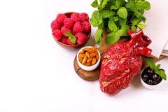 Zdrowy jedzenia i serca model jagod dokrętki streszczenie medyczny Obraz Royalty Free