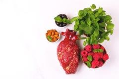 Zdrowy jedzenia i serca model jagod dokrętki streszczenie medyczny Zdjęcie Royalty Free