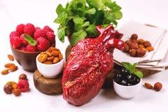 Zdrowy jedzenia i serca model jagod dokrętki streszczenie medyczny Zdjęcia Royalty Free