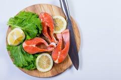 Zdrowy jedzenie, łosoś z cytryną Zdjęcia Stock