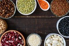 Zdrowy jedzenie, dieting, odżywiania pojęcie, weganin proteina i węglowodanu źródło, obraz stock