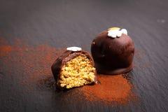 Zdrowy jedzenie, Domowej roboty organicznie Czekoladowy crunchy słonecznikowy ziarno obraz stock