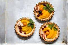 Zdrowy jedzenie jest świeżymi owoc i jagodami, brzoskwinie, jabłka, cranberries, przylądków agresty w koszu od ciasta Fotografia Royalty Free