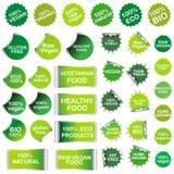 Zdrowy jedzenie, naturalnego produktu majchery i etykietki inkasowi Fotografia Stock