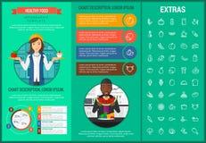 Zdrowy karmowy infographic szablon, elementy, ikony Zdjęcie Royalty Free