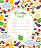 Zdrowy karmowy menu szablon Zdjęcie Stock
