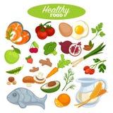 Zdrowy karmowy plakat, naturalni organicznie warzywa, owoc lub rybi produkty, ilustracji