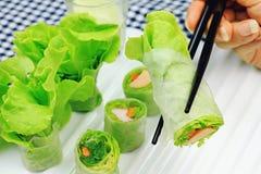 Zdrowy karmowy pojęcie, Świeżych warzyw wiosny rolki Obraz Stock