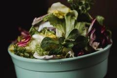 Zdrowy karmowy stylu życia pojęcie Świeżego warzywa sałatka w talerzu na czarnym tle w nieociosanym koloru stylu Zdjęcia Stock
