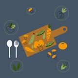 Zdrowy karmowy tło z modnymi liniowymi ikonami i znakami warzywa, wektorowa ilustracja Obrazy Royalty Free