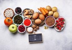 Zdrowy karmowy zawiera jod Produkty bogaci wewnątrz Ja obrazy stock
