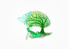 Zdrowy kobieta logo, natura relaksuje symbol, drzewną zdrój ikonę, piękno masaż, mody opiekę, żeńskiego styl życia i szczęśliwego Zdjęcie Royalty Free