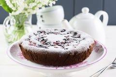 Zdrowy lekki deser Smakowity domowej roboty tort z ptasiej wiśni flou fotografia stock